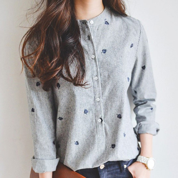 Korea Cotton Blouse Women Striped Leaves Embroidered Long Sleeve Stand Collar Blouse Slim Shirt Top Casual Shirt Office Lady Top