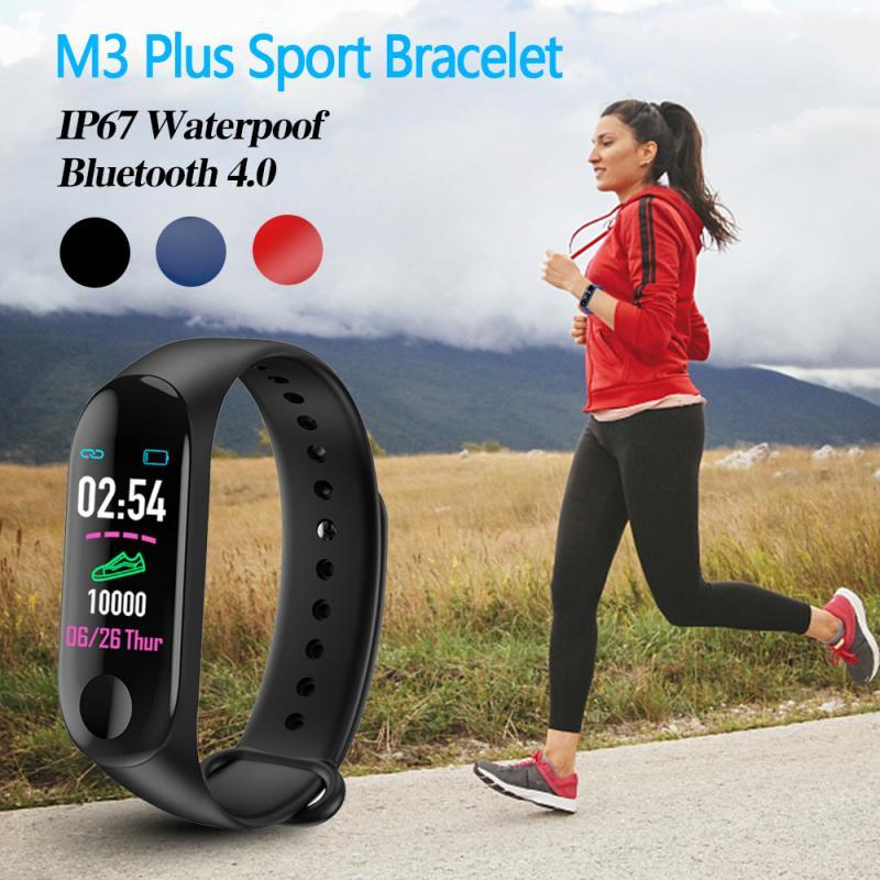 M3 Plus Smart Bluetooth Sports Bracelet Smart Band Watch Bracelet Wristband Healthy Tracker Blood Pressure HeartRate