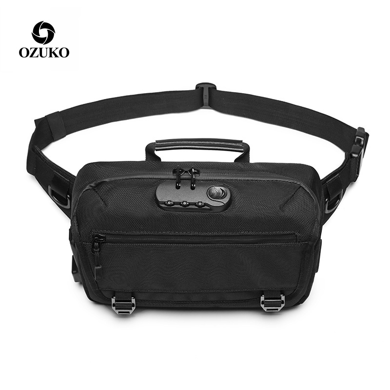 Men Waist Bag Anti-theft Lock Design Fanny Bag Belt Wallet Waist Packs Phone Bags Travel Waterproof Chest Pouch Bag Waistbag Men
