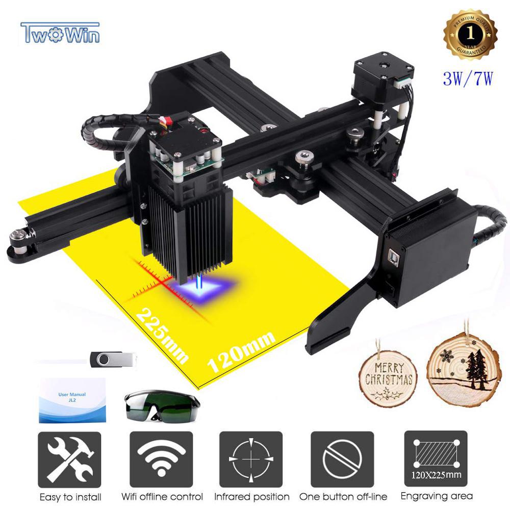 3W/7W/20W Upgrated Version Laser Engraver Machine CNC Laser Engraver Laser Engraving Machine USB Router Cutting Carver Off-line
