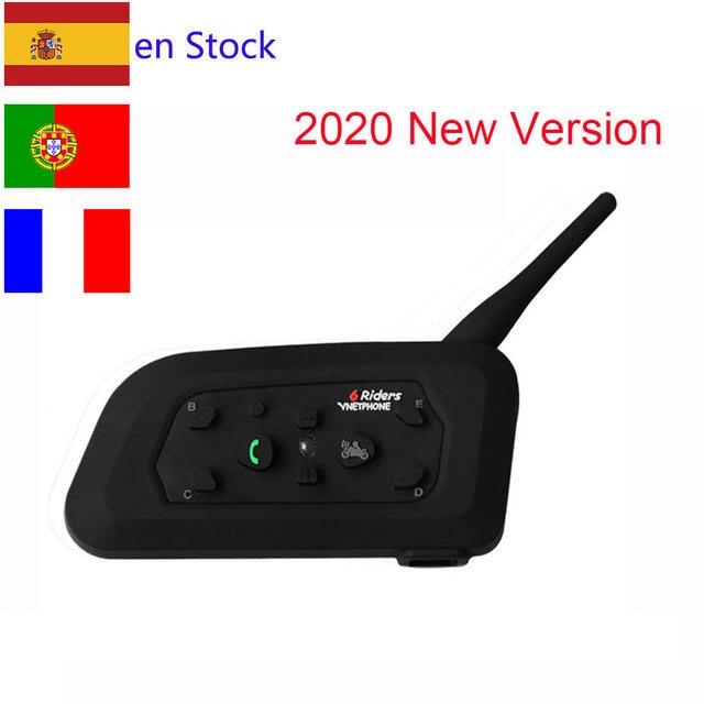 2020 Version V6 1200M 6 Riders BT Multi Interphone Bluetooth Intercom Motorcycle Wireless Headsets Headphones Helmet Headset