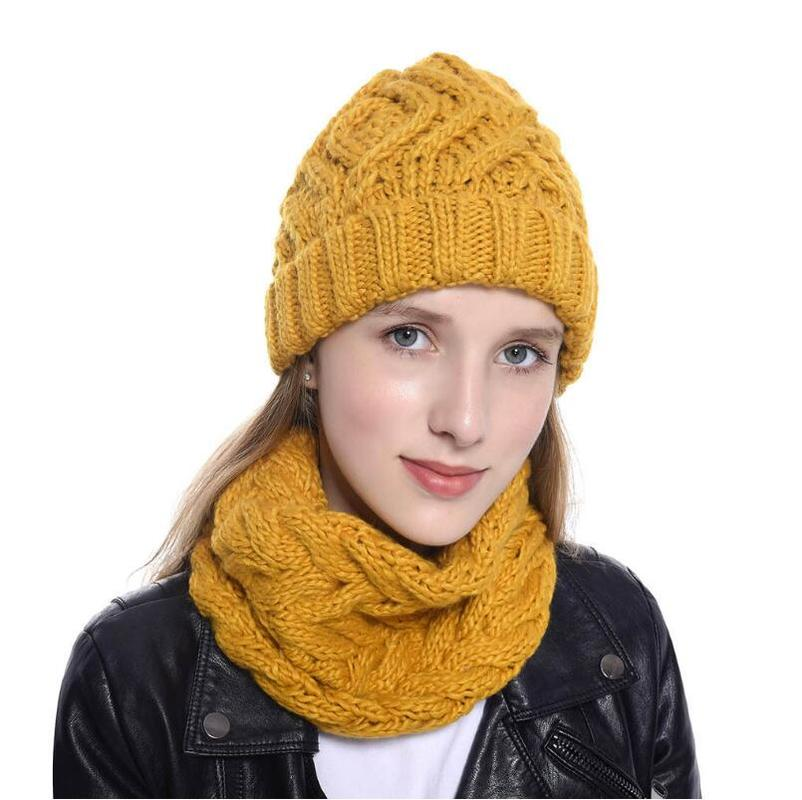 Helisopus Women's Knitted Hat And Neck Warmer Two Piece Set Autumn Winter New Beanie Winter Soft Cap Scarves For Women Girls