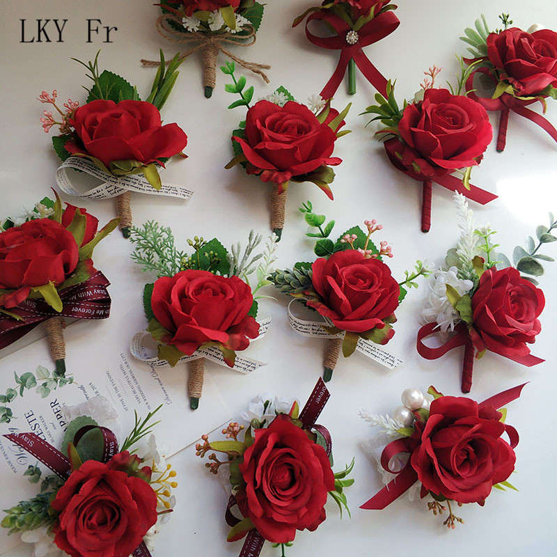 LKY Fr Boutonniere Groomsman Wedding Silk Roses Red Bridesmaid Bracelets Flowers Buttonhole Wedding Witness Marriage Accessories