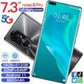 Фирменная Новинка Ново 8 Pro 5G 16 ГБ 512 7,3 дюймов Android11 смартфон 6800 мА/ч, Камера 32MP + 64MP полный Экран Deca Core, размер экрана LTE мобильный телефон