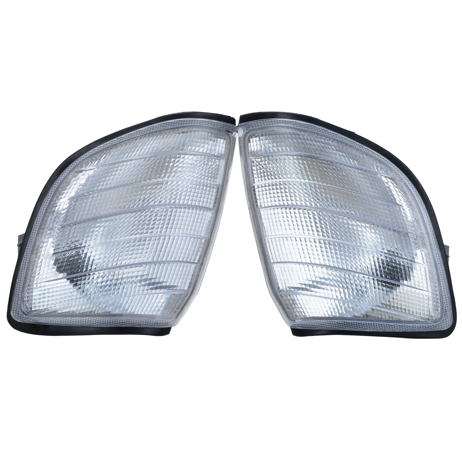 For <font><b>Mercedes</b></font> <font><b>Benz</b></font> <font><b>W140</b></font> 1991-1998 2pcs Car Side Corner Light Turn Signal Lamp Frame Cover Clear Lens image