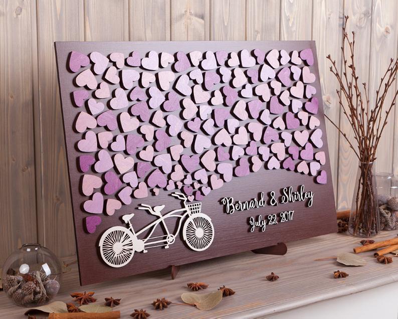 Wedding Guest Book Alternative Tandem Bike 3d Wedding Guestbook Purple Hearts Wedding Ideas Wood Custom Sign Bridal Shower Gift
