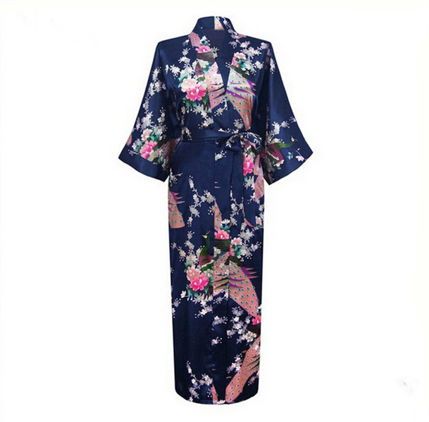 Long Sexy Home Clothing Bride Wedding Robe Casual Satin Sleepwear Nightwear Women Lounge Navy Blue Bathrobe Gown Negligee