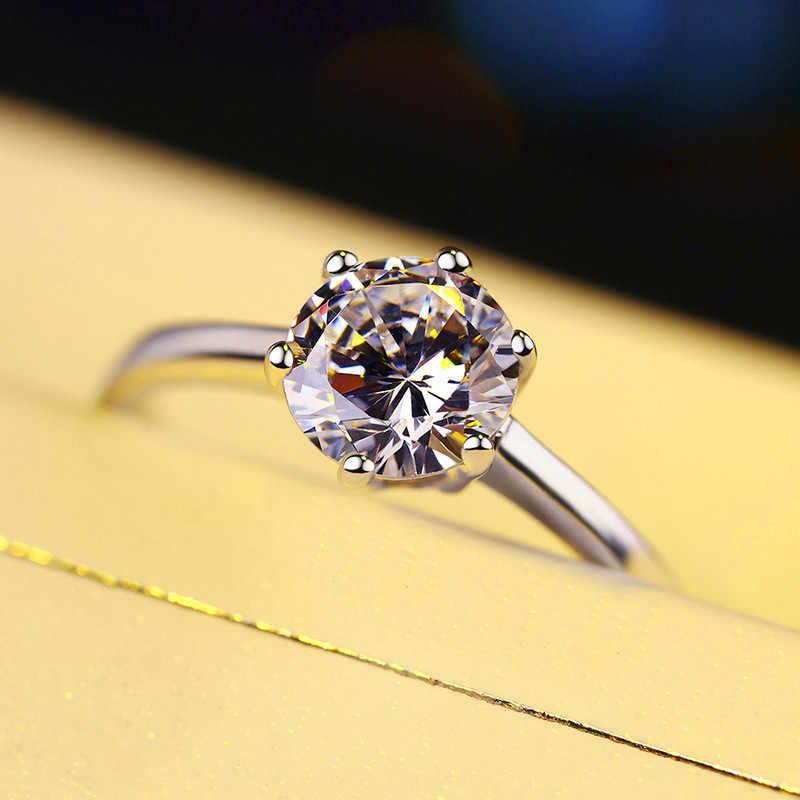 Luxus Weibliche Kristall Zirkon Stein Ring Silber Farbe Solitaire Hochzeit Band Ringe Versprechen Liebe Engagement Ringe Für Frauen