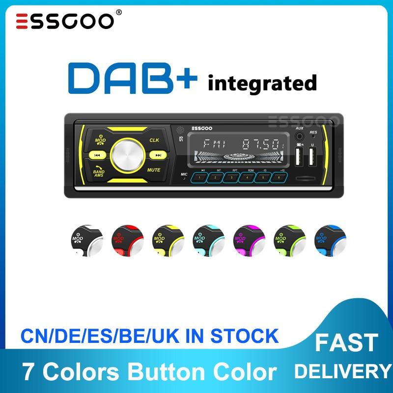 Dab + Rds Am Fm Auto Stereo MP3 Speler 1 Din Radio Bluetooth Usb Sd Aux Head Unit Ondersteuning Telefoon opladen 7 Kleuren Knop