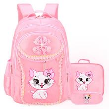 Wodoodporne torby szkolne dla dzieci dziewczyny plecaki ortopedyczne kot kreskówkowy plecaki plecaki do szkoły podstawowej tornister Mochila tanie tanio Kamida Oxford zipper Animal prints children bags 21cm 0 7kg 32cm nylon 41cm