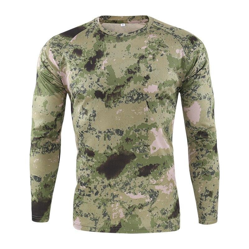 Футболка мужская быстросохнущая Военная камуфляжная футболка с длинным рукавом Мужская дышащая футболка для фитнеса Топы тактическая Боевая камуфляжная армейская футболка - 5