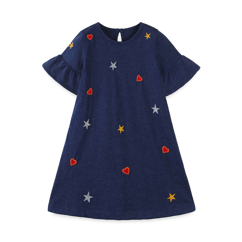 Jumping Meters New Princess Girls Dresses Summer Kids Cotton Clothing Fashion Party Dress Emboidery Toddler Girls Wedding Dress