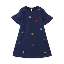 Girls Dresses Clothing Jumping-Meters Emboidery Princess Summer Kids Cotton Fashion New