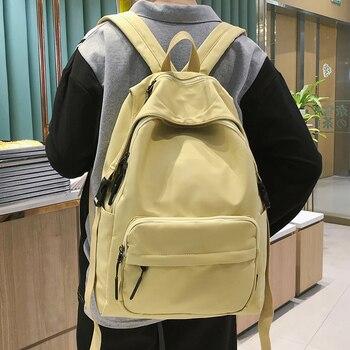 HOCODO Backpack Women 2020 Solid Color School Bag For Teenage Girls Waterproof Nylon Travel Backpack Female College Student Bag fashion waterproof backpack women gradient color nylon female school bag korean style college bookbag backpack mochila feminina