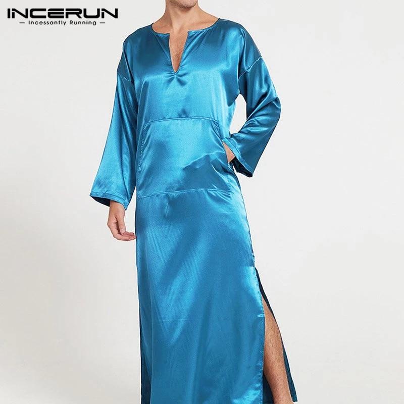 INCERUN Men Robes Homewear Solid Long Sleeve V Neck Pockets Faux Silk Satin Pajamas Nightgown Fashion Men Bathrobes  Plus Size