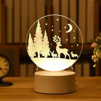 Adornos navideños para el hogar guirnalda de luz de noche acrílica 3D...