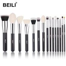 BEILI 15 sztuk czarny Premium kozy układanie włosów zestaw pędzelków big Powder foundation blusher cień do powiek Contour narzędzie pędzel do makijażu