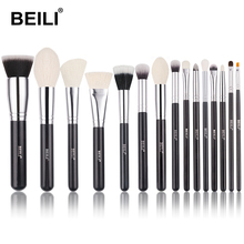 BEILI 15pcs Black Premium Goat hair makeup brush set big Powder foundation blusher eye shadow Contour Make up brush tool