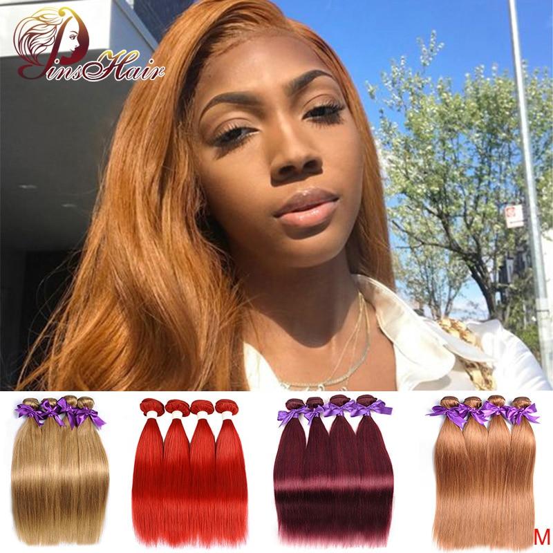 Peruvian Honey Brown Bundles Straight Hair Weave Blonde 4 Bundles Human Hair Weave Bundles Pinshair Remy Hair For Black Women