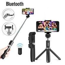 Roreta 3 em 1 sem fio bluetooth selfie vara para iphone ios android dobrável mini tripé expansível monopod com controle remoto