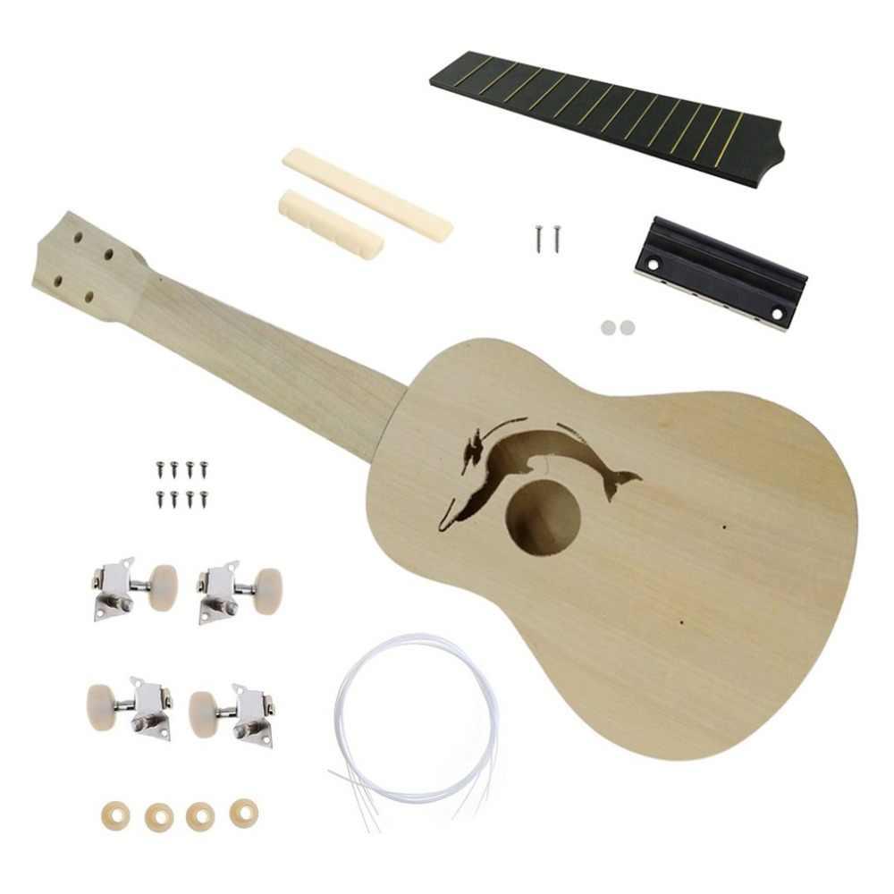 21 بوصة DIY القيثارة عدة الزيزفون الجسم البلاستيك الأصابع صغيرة الغيتار DIY اليدوية الجمعية القيثارة آلة موسيقية