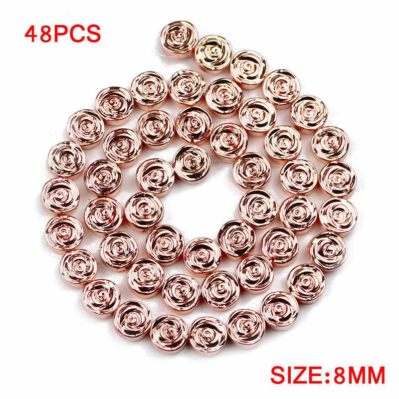 Jhnby Rose Bunga Bijih Besi 8 Mm 48 Pcs Emas Perak Datar Bulat Batu Alam Spacer Longgar Beads untuk Perhiasan Membuat DIY Gelang
