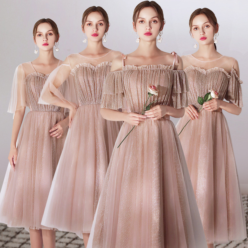 Bridesmaid Dresses Sparkling A-Line Wedding Party Dress Champagne Gold Knee-Length Formal Gowns Boat Neck Sling Vestidos R090