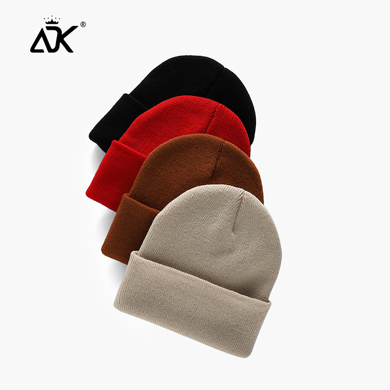 Winter Hats Short Cuffed Cap Warm All Match Bonnet For Woman Short Knitted Ribbed Beanie Casual Breathable Stretchy Cap 1