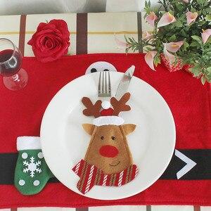 Image 5 - 3 teile/satz Weihnachten Dekorationen Für Haus Schneemann Besteck Taschen Weihnachten Santa Claus Küche Esstisch Besteck Anzug Set Decor