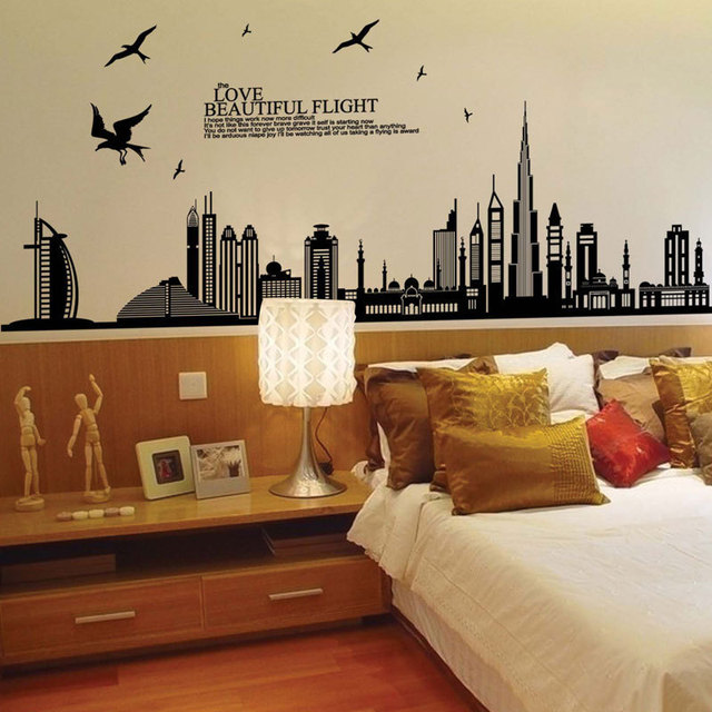 170*85cm Dubai City Building Wall Sticker for Kids Rooms High Building Decorative Vinyls for Walls Room Decoration Sticker Mural 2