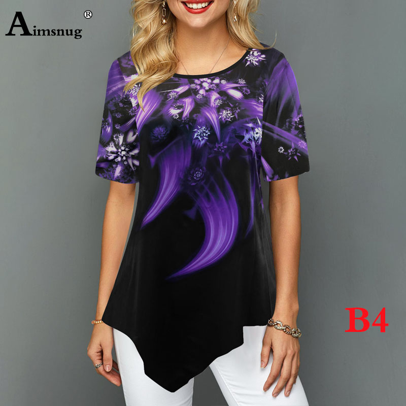 H2c55c491873e402481f88f7992aa1381m - Plus size 4xl 5xl Women Fashion Print Tops Round Neck Short Sleeve Boho Tee shirts New Summer Female Casual Loose T-shirt