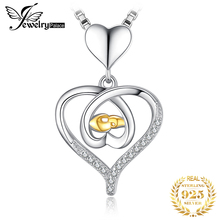 JewelryPalace Interlock Heart Hand to Hand Cubic Zirconia 925 Sterling Silver Pendants Necklace Rose Gold Jewelry Without Chain jewelrypalace authentic 925 sterling silver pendants necklace crown wings honey bee pendant without chain cubic zirconia jewelry