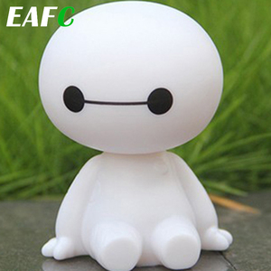 Car Ornament Cute Shaking Head Baymax Robot Doll Automotive Decoration Auto Interior Dashboard Bobble Head Toys Accessories Gift