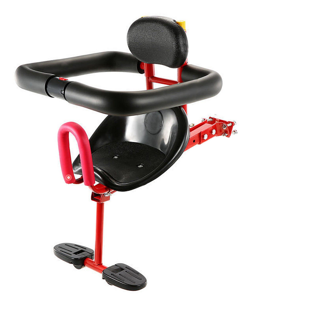 Bicycle Baby Seat For Kids Child Safety Seat Carrier Front Seat Saddle Cushion With Back Rest Foot Pedals Bike Child Seat