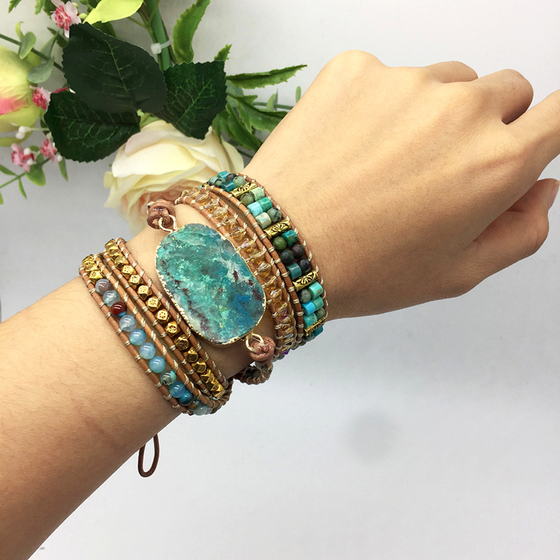 Image 2 - Natural Chrysocolla Women Bracelets Handmade 5 Strands Wrap Bracelets Mixed Stones Beaded Genuine Leather Bracelet Girls GiftsWrap Bracelets   -