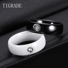 Tigrade 6mm Unisex Ceramic Ring For Men Woman White Black Rings With Big Crystal Wedding Band Size 6-10 Gift bague femme homme
