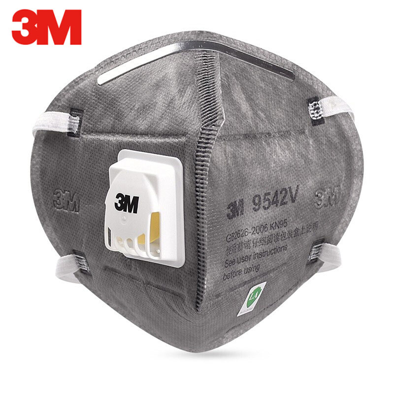 3M 9542V KN95 Protective Mask with Valve Grey Safety Dust Anti-PM2.5 Sanitary Working Respirator Filter Structure 3M 9542 Masks 4