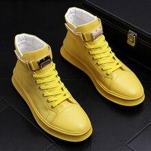 Brytyjski styl projektant mężczyzna trzewiki w stylu casual wygodne buty ze skóry bydlęcej płaskie buty platformy czarny biały krótkie buty mans bota