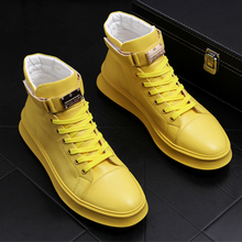 high quality men luxury fashion all match boots breathable genuine leather shoes flat platform ankle boot white yellow botas man