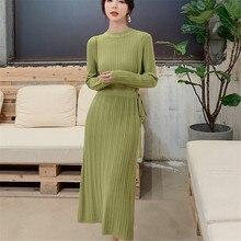 Korean Autumn Knitted Dress Women Sweater Elegant Woman High Waist Bottom Sweaters Dresses Stretch