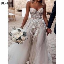 Hermoso vestido de novia de línea a con apliques de encaje Sweetheart Zipper Back vestido de tul para bodas vestidos de novia