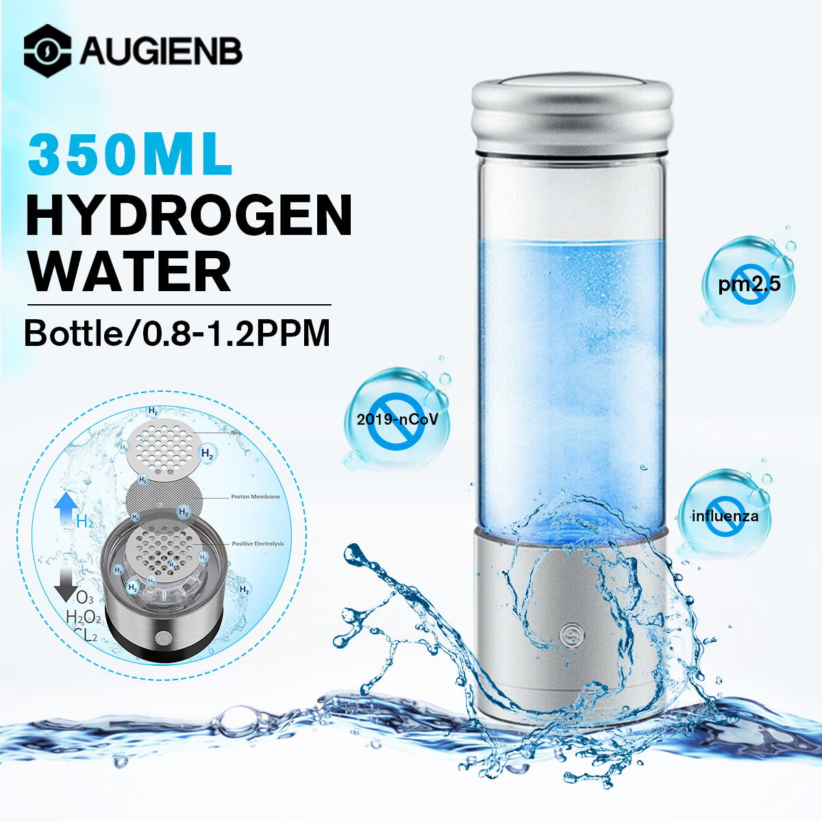 AUGIENB 350ml Hydrogen Rich Water Bottle Alkaline Ionizer Generator Healthy Anti-Aging USB Rechargeable With RGB LED Light