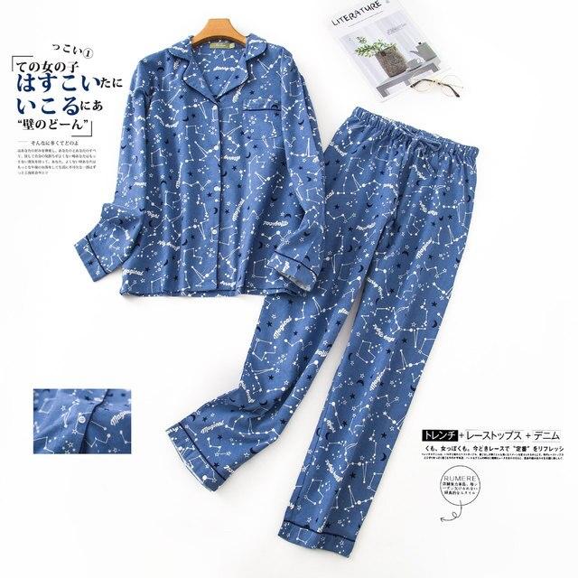 Inverno 100% algodão escovado conjuntos de pijamas feminino outono coréia doce puro algodão pijamas pijamas mujer