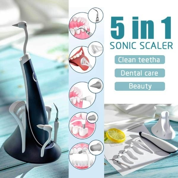 5 In 1 Electric Ultrasonic Scaler Tooth Cleaner High Frequency Vibration Stain Plaque Remover Dental Cleaning Whitening  Scaler