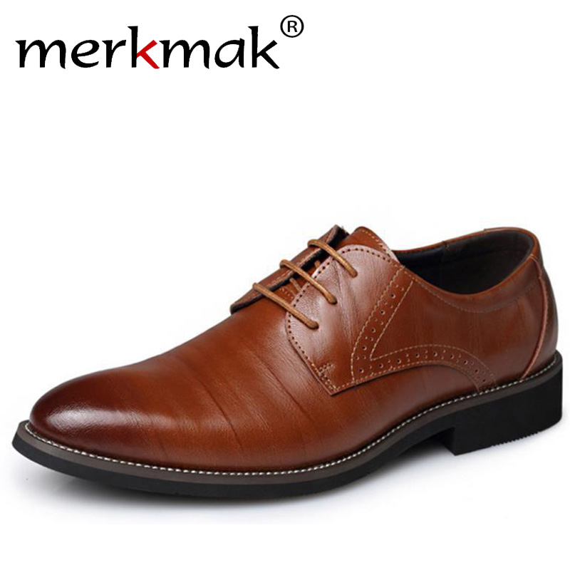 Merkmak 2019 Classic Men Dress Shoes Genuine Leather Carved Italian Formal Oxfords Plus Size 37-48 British Style Lace-up Bullock