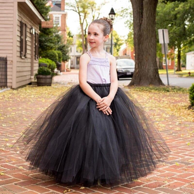 Mädchen Schwarz Flauschigen Lange Tutu Röcke Infant Kleinkind Handmade Dance Pettiskirts Unterröcke Kinder Weihnachten Party Kostüm Röcke