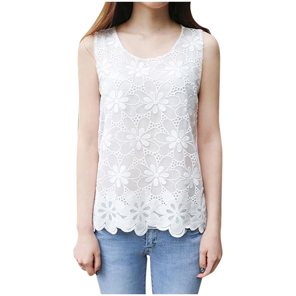 Women Casual Crop Tops Plus Size 6XL Sleeveless Vest O-Neck Floral Lace Slim Tank Tops Korean Style Cami Cropped Feminino