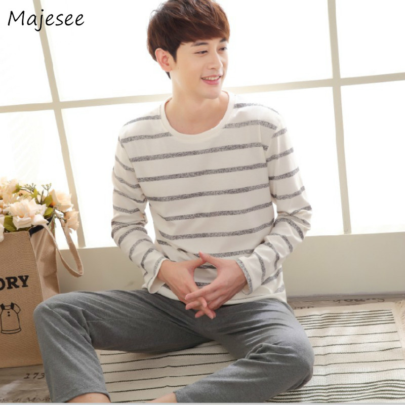 Pajama Sets Men O-neck Long Sleeve Home Clothing Mens Korean Fashion Plus Size Males Hot Sale Comfortable Ulzzang Pajamas Chic