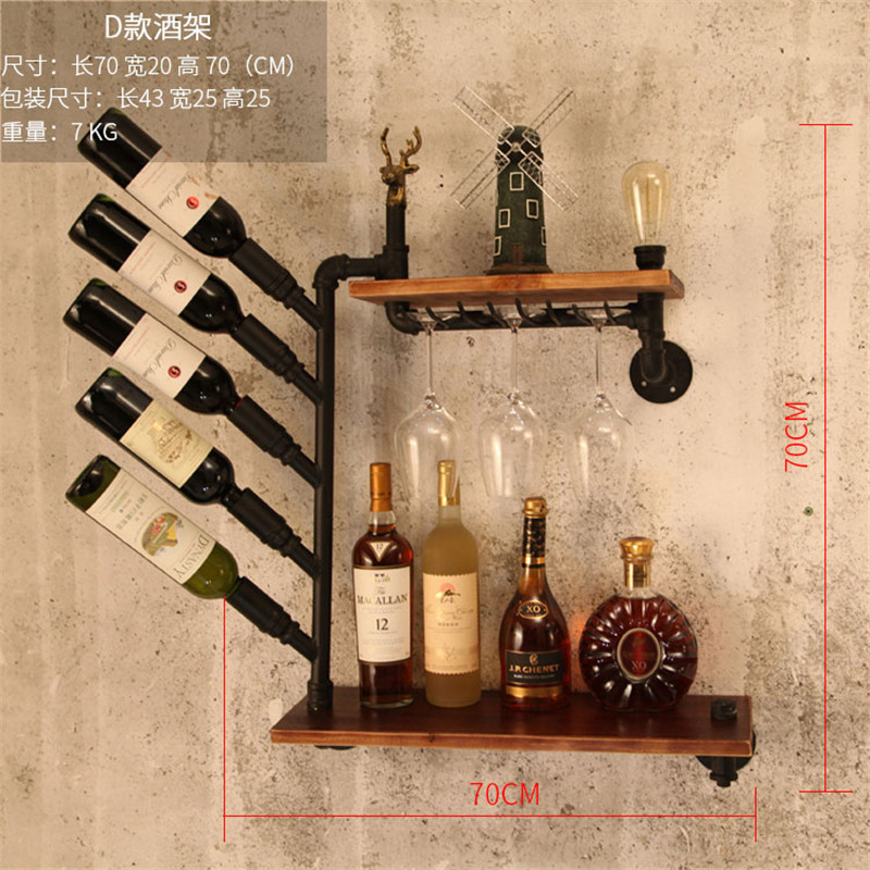 CF3 Metal & Wood Wine Rack Wall Mounted Whisky Bottle Holder European-style Wine Rack Wine Bottle Display Stand Rack