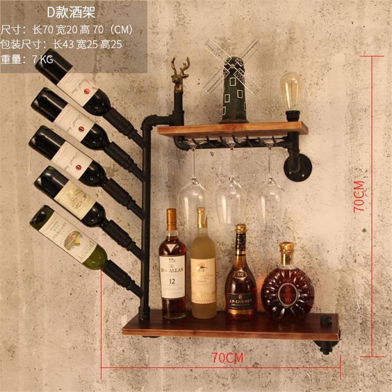 CF3 Metal & Wood Wine Rack Wall Mounted Whisky Bottle Holder European-style Wine Rack Wine Bottle Display Stand Rack